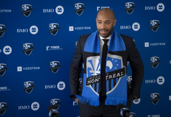 Thierry Henry speaks as The Montreal Impact invites members of the media to meet the new head coach at a press conference at the Centre Nutrilait, in Montreal, Quebec, Canada, on November 18, 2019. PHOTO | AFP
