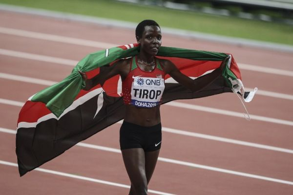 Third placed Agnes Jebet Tirop of Kenya is seen after winning the Women's 10000m final within the 17th edition of the IAAF World Athletics Championships at Khalifa International Stadium in Doha, Qatar on September 28, 2019. PHOTO | AFP