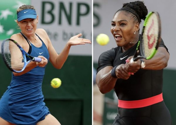 This combination of file photos created on June 3, 2018, shows Russia's Maria Sharapova (L) on May 29, 2018, and (R) Serena Williams of the US on June 2, 2018. Both during play in the French Open. PHOTO | AFP