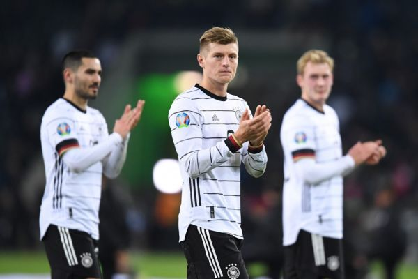 Toni Kroos (Germany), in the background Ilkay Guendogan (Germany) and Julian Brandt (Germany). PHOTO | AFP