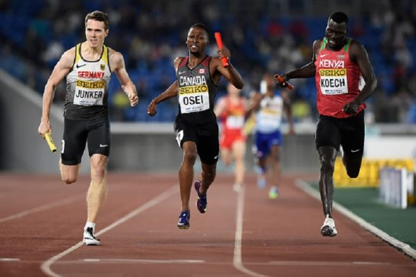 Torben Junker of Germany, Philip Osei of Canada and Aron Koech of Kenya compete during round 1 of the Mixed 4x400m Relay on day one of the IAAF World Relays at Nissan Stadium on May 11, 2019 in Yokohama, Kanagawa, Japan.PHOTO/ GETTY IMAGES