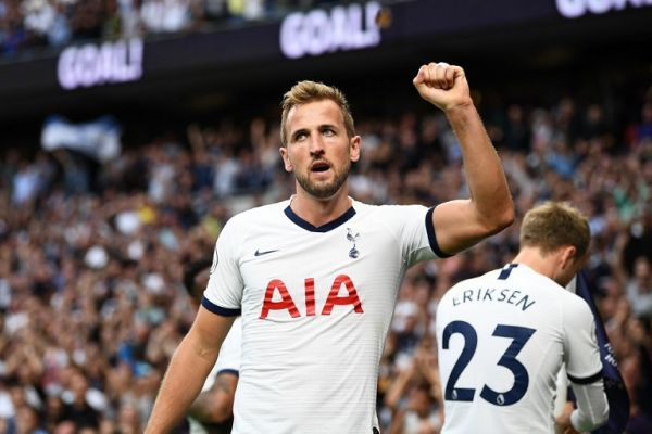 Tottenham Hotspur's English striker Harry Kane celebrates after he scores the team's second goal during the English Premier League football match between Tottenham Hotspur and Aston Villa at Tottenham Hotspur Stadium in London, on August 10, 2019. PHOTO | AFP