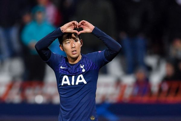 Tottenham Hotspur's South Korean striker Son Heung-Min celebrates after scoring his team's second goal during the UEFA Champions League Group B football match between Red Star Belgrade (Crvena Zvezda) and Tottenham Hotspur at the Rajko Mitic stadium in Belgrade, on November 6, 2019. PHOTO | AFP