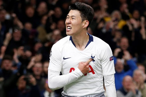 Tottenham Hotspur's South Korean striker Son Heung-Min celebrates scoring the opening goal during the UEFA Champions League quarter-final first leg football match between Tottenham Hotspur and Manchester City at the Tottenham Hotspur Stadium in north London, on April 9, 2019. PHOTO/AFP