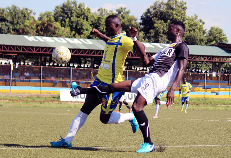 Tusker FC (right) and Western Stima FC in action in their SPL clash at Moi Stadium, Kisumu on Sunday, December 16, 2018. PHOTO/Tusker FC