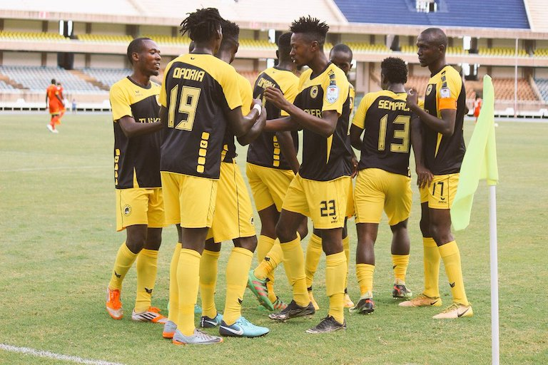 Tusker FC players celebrate scoring against Mt. Kenya United FC in their SPL clash at the Moi International Sports Centre, Kasarani on Sunday, December 23, 2018. PHOTO/Courtesy/Tusker FC