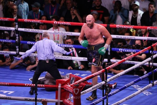Tyson Fury celebrates in the ring after knocking out Deontay Wilder in the 11th round of the Tyson Fury vs Deontay Wilder III 12-round Heavyweight boxing match, at the T-Mobile Arena in Las Vegas, Nevada on Saturday, October 9th, 2021. PHOTO | Alamy