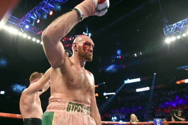 Tyson Fury reacts after the final bell in his heavy weight fight against Otto Wallin at T-Mobile Arena on September 14, 2019 in Las Vegas, Nevada. Fury won by an unanimous decision after the 12-round bout. PHOTO | AFP