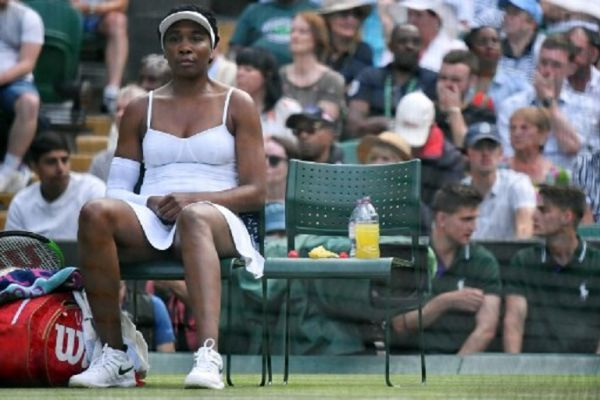 US player Venus Williams sits during her women's singles first round match against US player Cori Gauff on the first day of the 2019 Wimbledon Championships at The All England Lawn Tennis Club in Wimbledon, southwest London, on July 1, 2019. PHOTO/ AFP