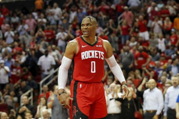 ussell Westbrook #0 of the Houston Rockets reacts after a dunk in the second half against the Milwaukee Bucks at Toyota Center on October 24, 2019 in Houston, Texas. PHOTO | AFP