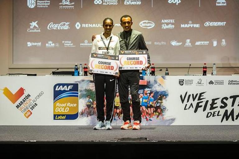 Valencia Marathon winners Ashete Dido and Leul Gebrselassie (Organisers) © Copyright
