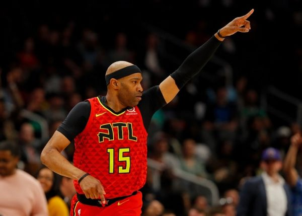 Vince Carter #15 of the Atlanta Hawks reacts after hitting a three-point basket against the Memphis Grizzlies in the first half at State Farm Arena on March 13, 2019 in Atlanta, Georgia. PHOTO | AFP