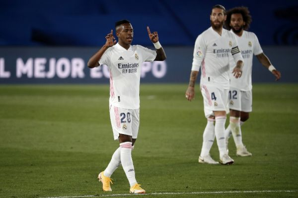 Vinicius Junior of Real Madrid celebrates after scoring a goal during the La Liga soccer match between Real Madrid and Real Valladolid at Alfredo Di Stefano Stadium in Madrid, Spain on September 30, 2020. PHOTO   AFP