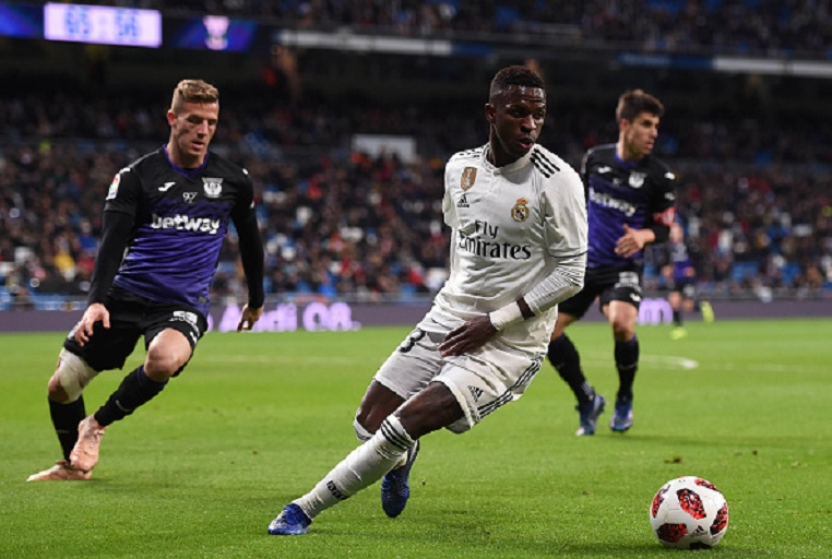 Vinicius Junior of Real Madrid CF in action against Jonathan Silva of CD Leganes during the Copa del Rey Round of 16 match between Real Madrid CF and CD Leganes at estadio Santiago Bernabeu on January 09, 2019 in Madrid, Spain. PHOTO/GETTY IMAGES