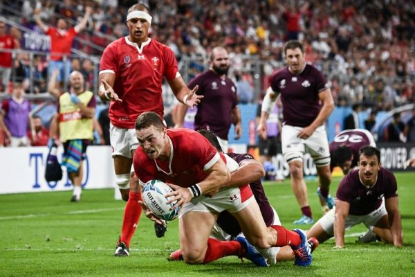 Wales' wing George North scores a try during the Japan 2019 Rugby World Cup Pool D match between Wales and Georgia at the City of Toyota Stadium in Toyota City on September 23, 2019. PHOTO | AFP
