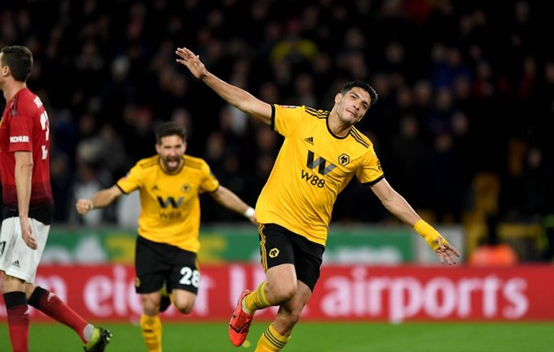 Wolverhampton Wanders FC's Raul Jimenez celebrates scoring against Manchester United FC during their FA Cup quarterfinal on Sunday, March 20, 2019. PHOTO/Wolves/Twitter