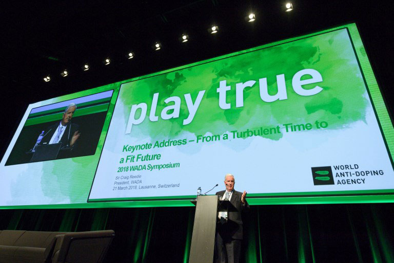 World Anti-Doping Agency (WADA) President, Craig Reedie, addresses the assembly at the opening of the 2018 edition of the WADA Annual Symposium in Lausanne. PHOTO/AFP