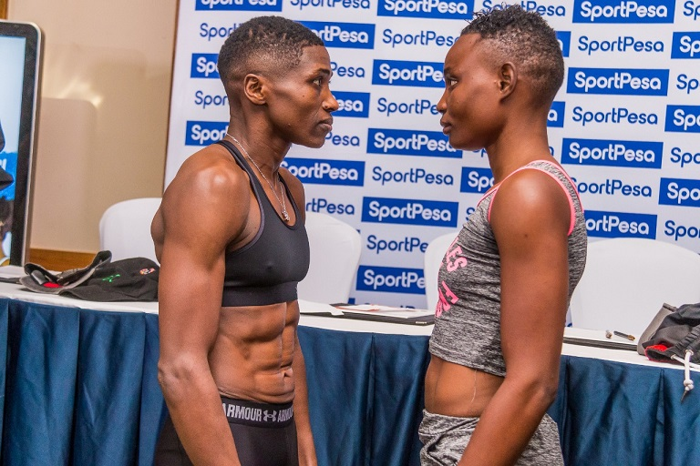 World Boxing Council Women Super Bantamweight champion Fatuma ' Iron Fist' Zarika (Left) and former title holder Catherine Phiri of Zambia during weighing in for the title fights in Nairobi on March 22, 2019. PHOTO/ SPN