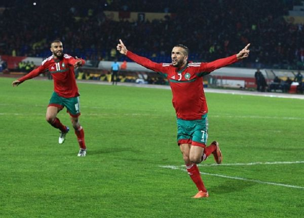 Zakaria Hadraf (R) of Morocco celebrates after scoring during the 2018 African Nations Championship (CHAN) final between Morocco and Nigeria at Stade Mohamed V in Casablanca, Morocco on February 4, 2018. PHOTO/ GETTY IMAGES