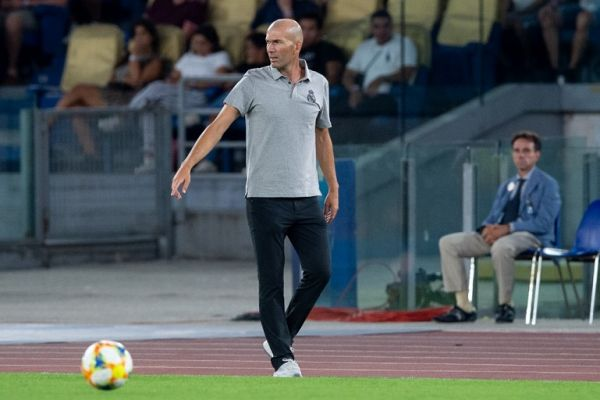 Zinedine Zidane manager of Real Madrid during the pre-season friendly match between AS Roma and Real Madrid at Stadio Olimpico, Rome, Italy on 11 August 2019. PHOTO | AFP
