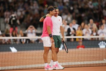 Federer, Nadal Play Exhibition Match In Front Of Record Tennis Crowd